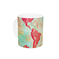 "Alison Coxon ""Oh The Places We'll Go"" World Map Ceramic Coffee Mug"