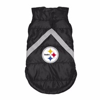 Pittsburgh Steelers Dog Puffer Jacket Coat NFL Football License Fleece Lined