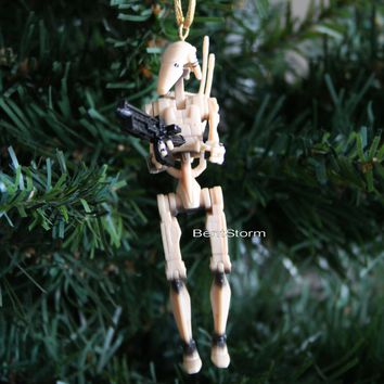 Licensed cool NEW Custom Star Wars BATTLE DROID WITH BLASTER RIFLE Christmas Ornament PVC