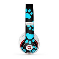 The Black & Turquoise Paw Print Skin for the Beats by Dre Studio (2013+ Version) Headphones-