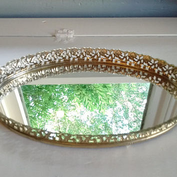 Sale, Vintage, Mirror, Vanity Tray, Vanity Mirror, Gold, Oval, Filigree, Mid Century Modern, Bathroom, Bedroom, RhymeswithDaughter