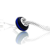 Thin Blue Line POLICE Charm: Midnight Black and Cobalt Blue Glass with Sterling Silver Core