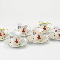 Yedi Houseware Classic Coffee and Tea Dancing Fairies Espresso Cups and Saucers, Set of 6