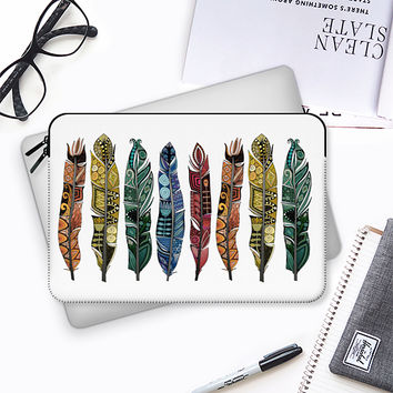 boho rainbow feathers macbook Macbook Pro 13 sleeve by Sharon Turner | Casetify