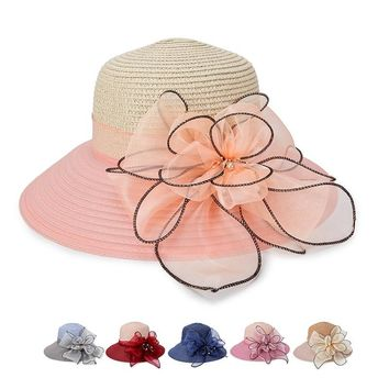 Straw Hat women's Summer Bucket Cap Ladies Wide Brim Shade Beach Caps For Women Elegant Bowknot Flower Sun Hat Chapeau Female