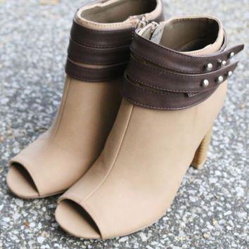 Walking In Style Taupe Open Toe Booties