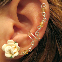 """No Piercing Prom Cartilage Ear Cuff """"Spring Rose"""" Wedding Bridal No Piercing Helix Conch Color Choices"""
