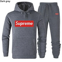 Supreme Tide brand simple solid color men and women casual sports suit two-piece dark grey
