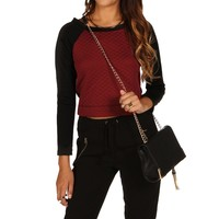 Promo-Burgundy Quilted Crop Top