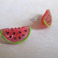 Juicy Glitter Kitsch Watermelon Stud Earrings, Melon, Kawaii, Food, Quirky