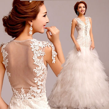 Romantic deep V neckline sexy backless bride wedding dress lace mermaid 2015 new = 1929678596