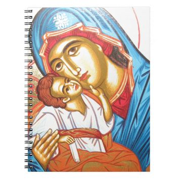 Madonna with Jesus Byzantine Religious Icon gold Notebooks