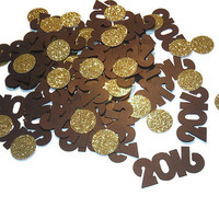 2016 confetti, new years eve party decorations, black and gold, glitter circle decor, Happy New Year, 100 pieces