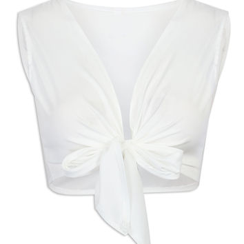 White Plunge Neck Knotted Front Cropped Top