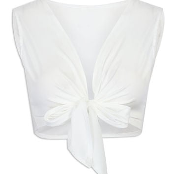 White Knotted Front Cropped Top
