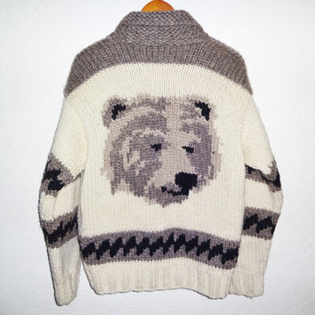 Vintage 60s Cowichan Grizzly Bear Sweater -large -