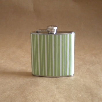 Holiday Gift On Sale Now! Green and White Stripe Print 6 ounce Stainless Steel Gift Flask KR2D 4252