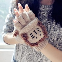 FunShop Lion Knitted Gloves for Women F1104