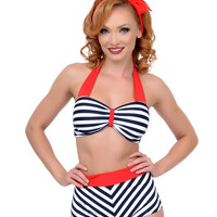 Unique Vintage Shirley Navy White & Red High-Waisted Bikini Bottom