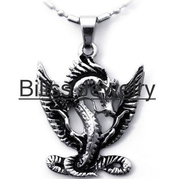 SHIPS FROM USA 2017 Men Jewelry Unique Style Flying Dragon Pendant Necklace in Stainless Steel steampunk Jewlery collares