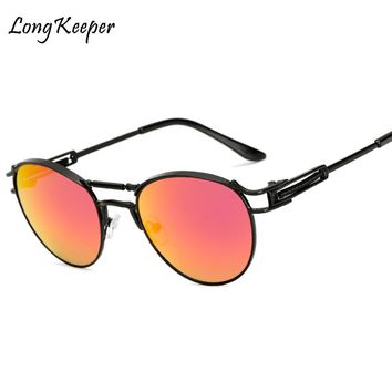 Long Keeper New Women Men Vintage Steampunk Sunglasses Retro Oval Alloy Mirror Steam Punk Goggles Gothic Sun Glasses AM8638