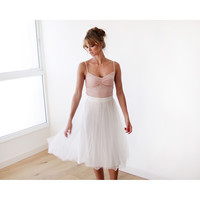 Ivory tulle skirt , Midi skirt , White wedding skirt , Tea length tulle skirt , Adult tulle skirt