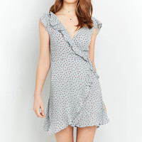 Pins & Needles Floral Frill Wrap Dress | Urban Outfitters