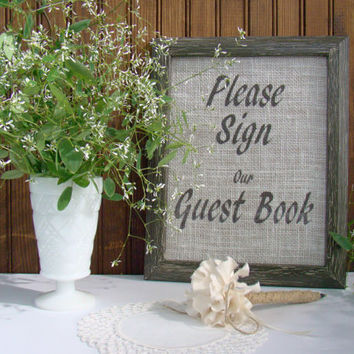 Guest Book Set, Burlap, Wedding Guest Book, Table Decor, Rustic Wedding, Guest Book Sign, Milk Glass, Guest Book Pen, Guest Book Table Decor