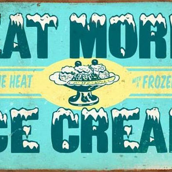 Ice Cream Sign, Metal Wall Art, Vintage Decor, Vintage Signs, Vintage Wall Art, Metal Signs, Kids Room Decor, Kids Wall Art, Kitchen Decor