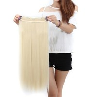 """S-noilite® Salon 26"""" Straight Bleach Blonde One Piece 5 Clips Clip In Hair Extensions Fashion Design Lady Women 5A Synthetic USA Local Post"""