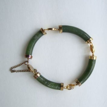 Jade Link Bracelet w Safety Chain Green Carved Vintage Gemstone Jewelry