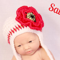SALE Newborn  poppy flower hat with earflaps,photo prop,0-3 months,white green and red, beaded poppy flower, newborn photography