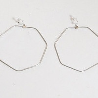 Large Clip On Hoop Earrings, Screw Back Clips, Hexagon Shaped, 3 inches wide, Hippie Jewelry, Antiqued Silver Tone, Bohemian Jewelry, Beach
