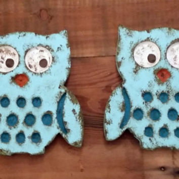 Owl wall hanging sign hand painted nursery room decor photo prop baby shower gift wall decor rustic shabby chic