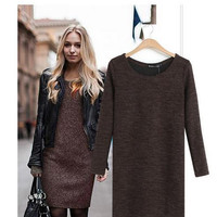Women's Fashion Knitted Long Sleeve Mini Dress Casual Loose Woolen Sweater Dress