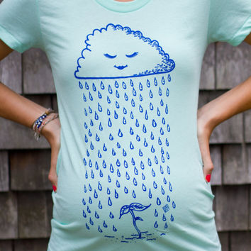 Sprout Maternity Tshirt - Original Rain Cloud Design - Mint Green (Made in USA)