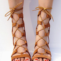 Summer Fashion Women's Shoes - Lace Up Sandals for summer Roman style knee length = 4777198724
