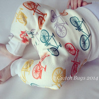 ORGANIC Baby Harem / Ninja Pants in Birch Commute 'Bike It' Cotton Knit / Ivory Waist and Ankles - An Eco Friendly gift idea from Cwtch Bugs
