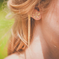 Stylish Leaf Tassels Chain Earring Accessory [4918492996]