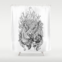 Mermaid and her Octopus - Black & White Shower Curtain by Rachel Emma Weaver
