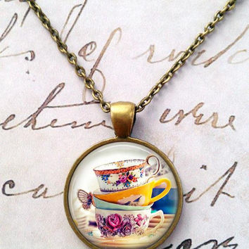 Tea Time Necklace, Steampunk, Alice in Wonderland, Mad Hatter, Once Upon a Time T50