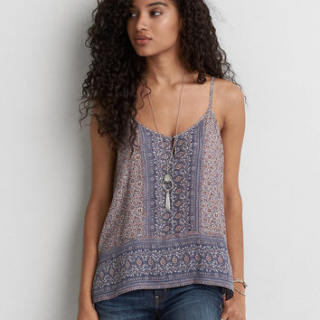 AEO Button Front Keyhole Cami , Lively Lilac