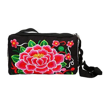 Women Ethnic Handmade Embroidered Floral Canvas Coin Purse National Clutch Bag Vintage Purse Wallet monedero mujer para monedas