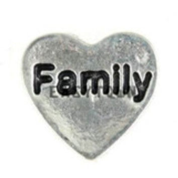 Family Heart Floating Charm for Memory Lockets