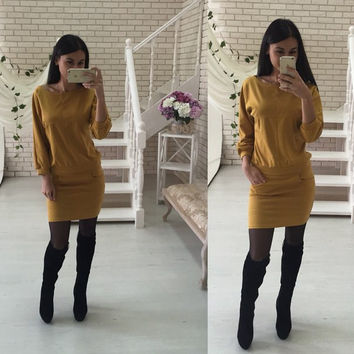 Yellow Long Sleeve Top and Front Pocket Mini Skirt