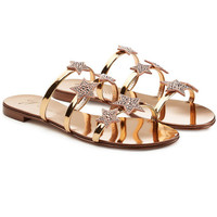 Star Embellished Metallic Leather Sandals - Giuseppe Zanotti | WOMEN | US STYLEBOP.COM