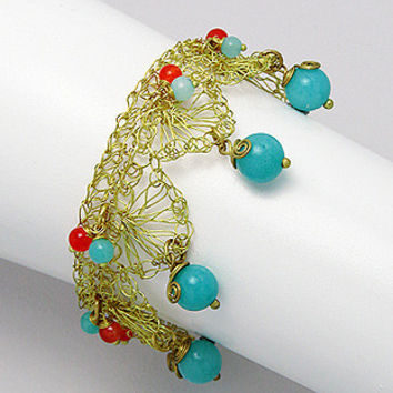 Jade and Carnelian Brass Cuff Bangle - Gold Tone