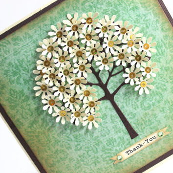 Thank you Card, or Happy Birthday Card,  Handmade Card,  Flower Tree Card, Vintage, Shabby Chic