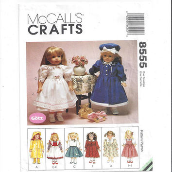 McCall's 8555 Pattern for 18 In. Doll Clothes, Gotz, Coat, Dress, Sweater, Poodle Skirt, Apron, From 1996, Vintage Pattern, Home Sew Pattern