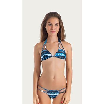 Thaikila Azul Reversible Triangle Top and Side Tie Brazilian Bikini Bottom w/ Shell Accents Swimwear Swimsuit Set